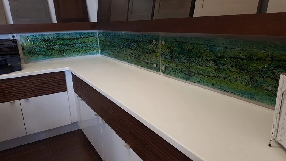 Panache: Hand Made Glass backsplash